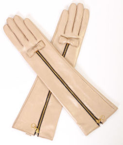 Lady Fashion Zipper Long Leather Dress Warm Gloves (YKY5175) pictures & photos