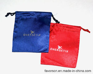 Satin Gift Pouch with Silver Logo Customized Printing Bag pictures & photos