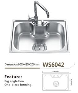 Stainless Steel Kitchen Sink Single Big Bowl Ws6042