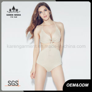 Women Tie Front Swimming Wear Knitted One Piece pictures & photos