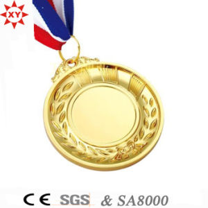 Custom Blank Gold Metal Medal with Nylon Ribbon pictures & photos