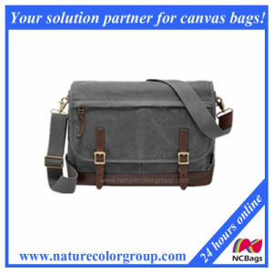 Retro and Leisure Laptop Messenger Bag for Men-Waxed Canvas with Leather pictures & photos