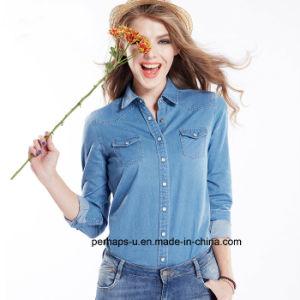 Hot Sell Ladies Denim Indigo Shirt pictures & photos