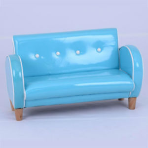 Shining Leather Double Seat Wooden Legs Kids Furniture (SF-158) pictures & photos
