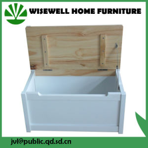 Kids Wooden Toy Storage Bench with Wheels pictures & photos
