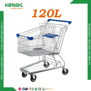 Heavy Duty Retail Store Zinc Plated Hand Push Hand Trolley pictures & photos