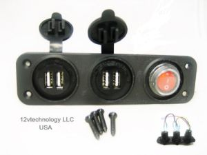 6.2A Dual USB Chargers + LED Switch -Panel Mount Marine 12V Boat Power Outlet pictures & photos