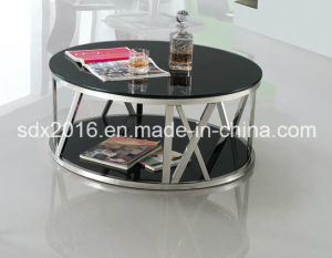Modern Round Black Glass Stainless Steel Coffee Table pictures & photos