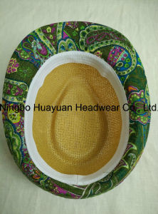 Toyo Printed Fabric Fedora Straw Hat pictures & photos