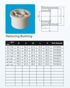 UPVC Reduing Bush Plastic Fitting ASTM-D-2466 Standard White Color pictures & photos