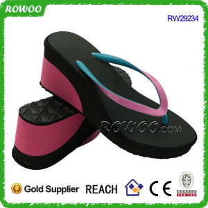 Women′s Two Colored Wedges Flip Flops (RW29234)
