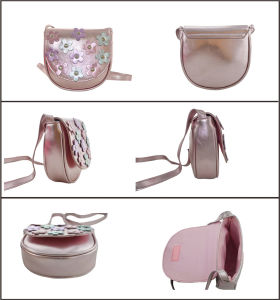 Flower Fashion Pink Metalic PU Cross Body Bag pictures & photos