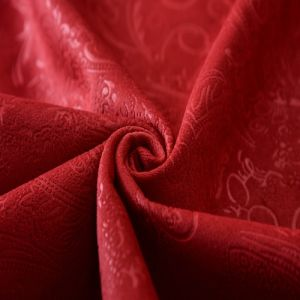 Red Embossed Knitted Fabric Back Side with Tc pictures & photos