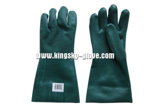 Sandy Finish Guantlet Cuff Green PVC Glove-5125. Gn pictures & photos