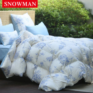 Blue Flower Printing Cover White Duck Down Quilt for Home pictures & photos