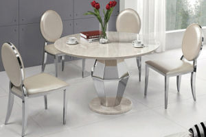 Modern Round White Marble Top Stainless Steel Dining Table with Round Leg pictures & photos