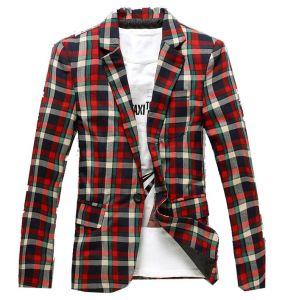 Mens Plaid Modern-Fit Blazer Suit Jacket pictures & photos