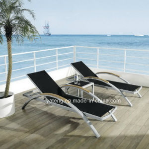 Aluminum Frame + Teak Arm Lounge / Cheap Beach Chaise Lounge by Wholesale (YTF393) pictures & photos
