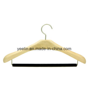 Luxury Hotel Wooden Coat / Suits Hanger with Flocking Pant Bar (YLW-a0) pictures & photos