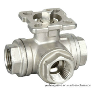 3 Way T Type Stainless Steel Ball Valve with Lock Handle pictures & photos