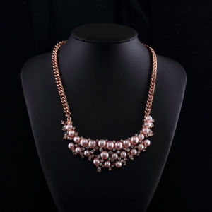 Rose Gold Plated Czech Rhinestone Pink Pearl Necklace Sets pictures & photos