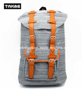 Hot Selling Trendy Canvas and Leather Priniting Laptop Backpack for School, Travel, Leisure pictures & photos
