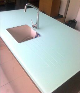 High Quality Kitchen Tempered Pure White Glass Worktops pictures & photos