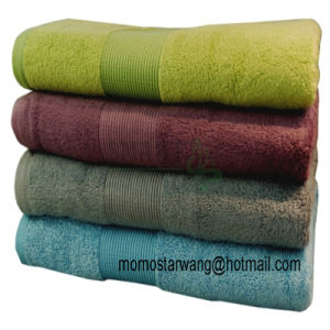 Bamboo/Cotton Bath Towels with Dobby Border pictures & photos