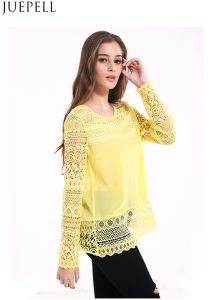 Europe 2016 New Round Neck Long-Sleeved Lace Shirt Big Yards Loose Openwork Crochet Lace Stitching T-Shirt Women Summer Blouse pictures & photos