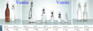 40ml-1000ml High Clear Glass Jar Beverage Bottles with Metal Clip Wine Crape Bottle Container Glassware