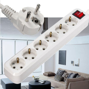 4.0mm 4.8mm EU Plug 3 Outlet Power 250V 10A Extension Cable Wall Socket Mains Lead Plug Strip Adapter pictures & photos