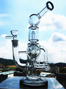 Newest 13′′ Duel Percolator Glass Pipe Bird Cage Perc with Dome Perc Glass Pipe pictures & photos