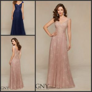 Blush Blue Lace Mother′s Formal Gowns Cap Sleeves Evening Dress M71318 pictures & photos