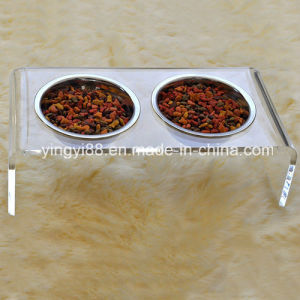 High Quality Acrylic Pet Feed Dining Table with Two Bowl pictures & photos