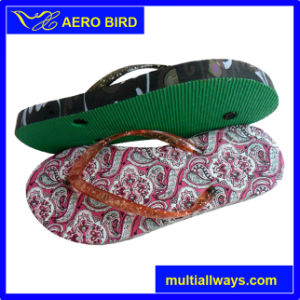 Colorful Print PE Sole Slipper with PVC Strap pictures & photos