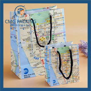 Map Printed Paper Hand Bag (DM-GPBB-073) pictures & photos