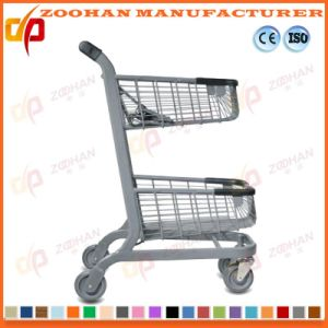 Twin Basket Zinc Plated Metal Supermarket Shopping Trolley Cart (Zht191) pictures & photos