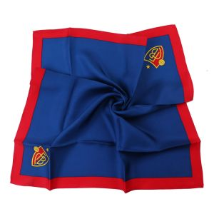 Solid Navy Red Custom Logo Scarf Natural Silk and Polyester Satin Twill (LS-37) pictures & photos