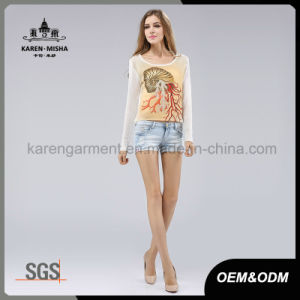 Abstract Cartoon Patterned Crop Hi-Lo Hem Pullover pictures & photos