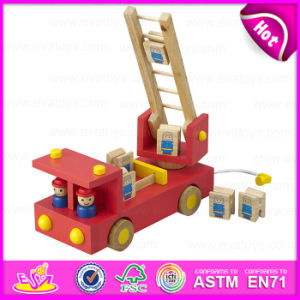 2015 New Product Very Nice Fire Truck Toy, Love Design Kids Fire Fighting Truck Toy, Red Children Wooden Moving Truck Toy W04A158 pictures & photos