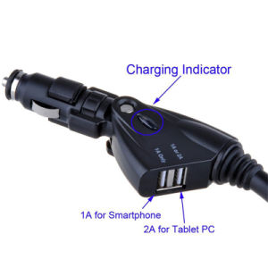 Mobile Phone GPS 5V 2.1A Dual USB 12V Cigarette Lighter Multifunction Charging Car Holder pictures & photos