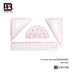 Office Stationery 4 in 1 Red Stationery Ruler Set for Promotional Gift