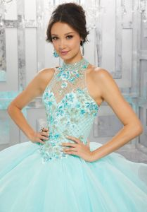Blue Pink Coral Ball Gowns Beaded Embroidery Quinceanera Dresses Z89149 pictures & photos