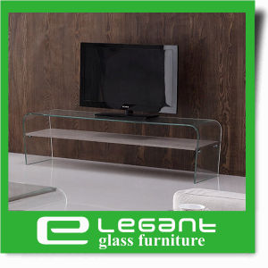 Glass LCD TV Stand with Walnut Wood Veneer Drawers pictures & photos