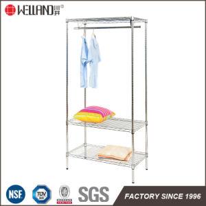 Modern Sturdy Metal Furniture 3 Layers DIY Chrome Garment Cloth Rack Shelf pictures & photos