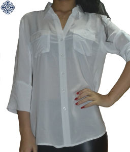 Ladies Long Sleeve 100% Rayon Shirt Blouse (BS-78)