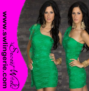 Wholesale One Shoulder Floral Lace with Side Gathers Sexy Clubwear Party Lingerie Dress 5413-Green