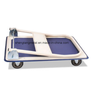 150kg Blue Platform Hand Trolley with TPR Wheel