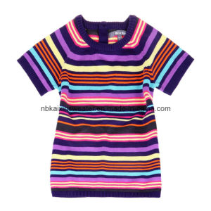 Girl′s Colorful Striped Dress Sweater (KX-CG44)