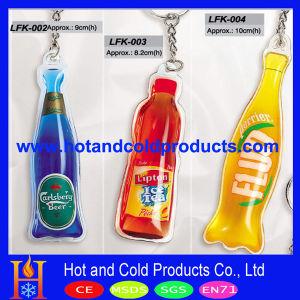 Promotional Bottle Shaped Soft PVC Keychain with Liquid Inside